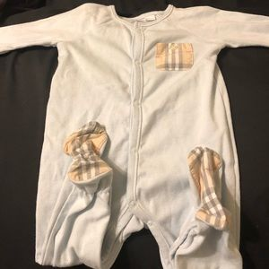 3-6 blue Burberry one piece nighty for girl or boy